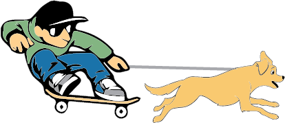 Logo displays a professional skater skating with his dog alongside.